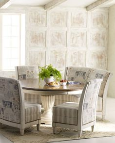 """Brannon"" Pedestal Dining Table and ""Viola"" Chair & Banquette"