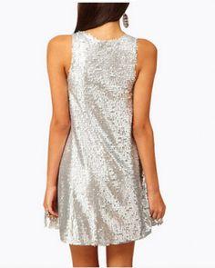 Silvery sequins tank dress for women long tank tops