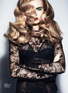 Lacy goodness. Cara Delevingne & Bryan Ferry: S Moda, January '12 ..............Gorgeous Curls!