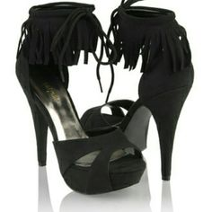 """Forever 21 fringe shoes Super cute suede with fringe tops, platform at toe and a 5.5"""" heel. Forever 21 Shoes"""