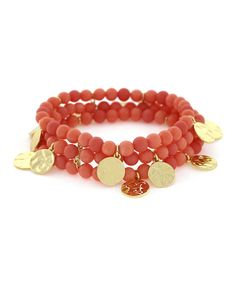 This Goldtone & Coral Beaded Stretch Bracelet by Jessica Simpson Collection is perfect! #zulilyfinds