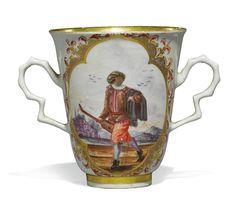 A Meissen two-handled beaker,circa 1722.