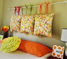 62 DIY Cool Headboard Ideas...very cute, but I might lower it a bit to make it usable for relaxing, and make the covers removable.