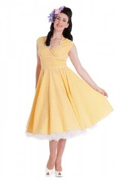 Yellow Lazy River Dress by Hell Bunny