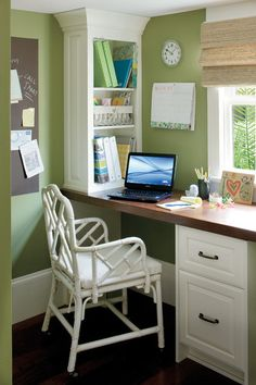what a cheerful little space!  between fridge and back window?  up front by the big window? | eclectic home office by Jackson Cabinetry LLC via Houzz