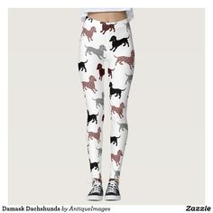 Damask Dachshunds Leggings - Full length leggings. Compression fit leggings hug in all the right places and suit all body types. Compression fit won't lose shape. Vibrant print won't fade after washing.