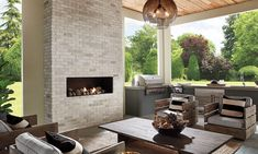Eldorado Stone's Modern Collection Brings a Warm Touch to Cool Minimalist Design Outdoor Patio Designs, Outdoor Kitchen Design, Outdoor Kitchens, Outdoor Spaces, Outdoor Patios, Brick Fireplace, Fireplace Surrounds, Fireplace Ideas, Fireplace Design