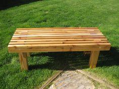 """My husband made:  Plans from """"Popular Mechanics"""" March 2012.  Cedar Garden bench"""