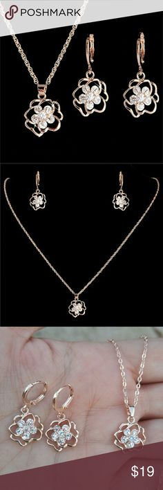 14 K Gold Filled Cubic Zircon Necklace Earring Set 14 K Gold Filled Cubic Zircon Necklace Earring Set Jewelry Necklaces
