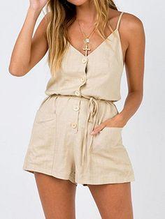 eea6b47c99f Beige Cotton Spaghetti Strap V-neck Chic Women Romper Playsuit - Choies.com