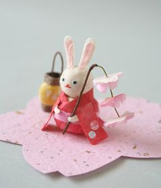 A sweet little rabbit made of washi paper. No clue what it is for, but it is adorable and beautifully made.  Washi paper - re-Pinned by HankoDesigns.Com