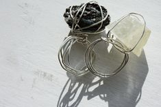 DIY Wire Wrapped Rough Crystal RIngs - no tutorial, but easy to do.