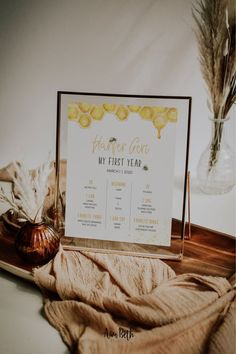 Honey Bee Party Decor - First Bee Day Milestone Poster #honeybeedecor #bumblebeedecor #honeybeeparty #firstbeeday #firstbirthday #1stbirthday #milestoneposter #myfirstyear #poster #printable #editable #template #digitaldownload