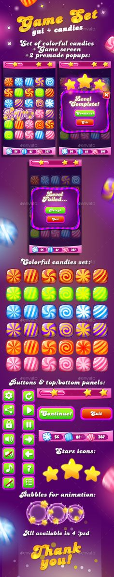Candy Game Set for match3 + UI — Photoshop PSD #ruby #gui • Available here → https://graphicriver.net/item/candy-game-set-for-match3-ui/13604983?ref=pxcr