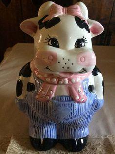 Vintage Retro Treasure Craft Bossy Cow Cookie Jar. Art and