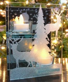 Winter Scene Candle Holder - 2 Flameless LED Tea Lights Are Included - Mirrored Glass - Deer and Evergreen Glittery Winter Scene - Holds 2 Tea-light Candles - Winter Decorations Classic Candle Holders, Classic Candles, Glass Tea Light Holders, Christmas Candle Holders, Christmas Candles, Tealight Candle Holders, Christmas Decorations, Christmas Tree, Led Tea Lights