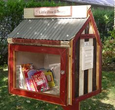 a LITTLE FREE LIBRARY.you can build or purchase an already made Little Free Library for your family or neighborhood. Little Free Library Plans, Little Free Libraries, Little Library, Community Library, Community Building, Mini Library, Library Books, Library Inspiration, Library Ideas
