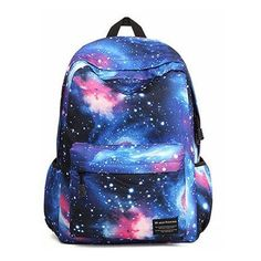 Women Star Dazzle Colour Canvas Backpack (115 SEK) ❤ liked on Polyvore featuring bags, backpacks, backpack, blue canvas bag, zip bags, blue canvas backpack, canvas knapsack and star backpack
