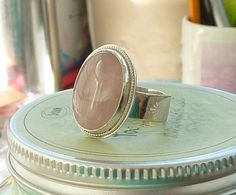 Oval Rose Quartz ring Gemstone ring Pink ring sterling by anakim, $123.00