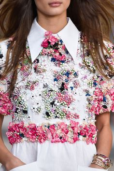 The beading on this shirt is amazing. Chanel at Paris Spring 2015 (Details)