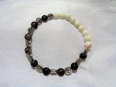 Black Network Stone and White Howlite Stretch Bracelet by NfntyArt on Etsy