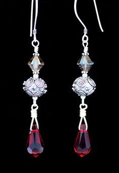 Sterling earrings with ruby red Swarovski teardrops