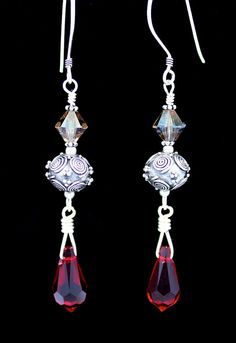 Sterling earrings with ruby red Swarovski teardrops