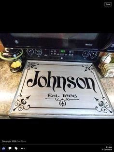 Johnson Family Stovetop Cover #kitchendecor Stove Top Cover, Stove Covers, Kitchen Signs, Kitchen Decor, Stove Board, Noodle Board, Wood Burning Crafts, Kitchen Stove, Oven Range