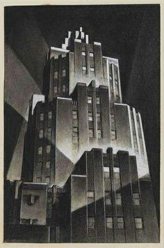 Louis Lozowick - Skyscraper at Night (1939)