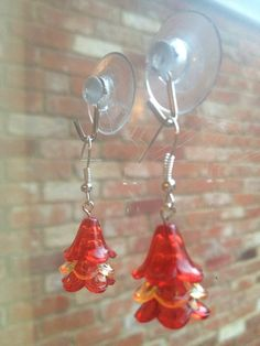 Iron Man inspired dangle earrings red yellow by VINTAGEnKITSCH, £3.00