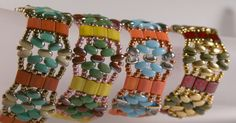 Free Super Dors Bead Patterns | Now available on the Red Panda Beads website, a free Tila Flower Bands ...