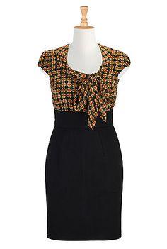 I <3 this Tie neck mixed media dress from eShakti