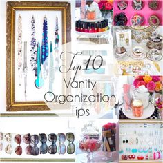Top 10 Tips for Organizing Your Vanity - Design Eur Life-- AWESOME ideas on here. my fave is use muffin tins to organize hair ties and pins. Vanity Room, Diy Vanity, Vanity Ideas, Vanity Organization, Storage Organization, Organizing, Make Up Storage, Vanity Design, Beauty Room