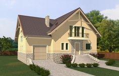 Дом с мансардой, эркером, гаражом, террасой и балконами Rg5054 Вид1