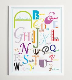 Animal Alphabet Nursery Wall Art Print  11 x 14 by ModernPOP, $36.00