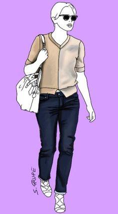 Trotz starkem Farb-Kontrast in der Taille wandert das Auge in diesem Outfit von oben nach unten: Das vertikale Colour-Blocking im Pullover, unterstützt von V-Ausschnitt und Vorder-Schlitz betont die Vertikale. Schuhe mit ähnlichen Details in Form und Farbe korrespondieren mit dem Pullover. Die Detaillosigkeit der Flächen macht groß.