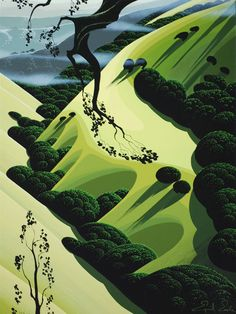 Eyvind Earle green...  --Disney hired him to do some of the  illustration for Fantasia.