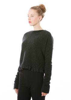 Wollpullover Seeking von HIGH bei nobananas mode #nobananas #pullover #grey #wool #yak #wide #fit #button #soft #fw16 #fashion