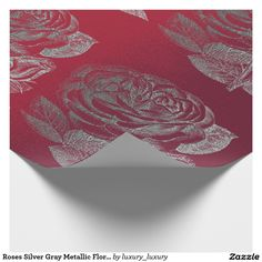 Roses Silver Gray Metallic Floral Red Wine Chic Wrapping Paper