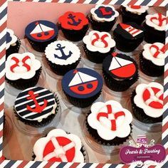 Nautical theme cupcakes #nautical #pearlsandfrosting #anchor #sailboat…