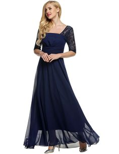 Elegant Women Square Neck Short Sleeve High Waist Full Gown Lace Party Evening Dresses