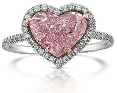 Pink Diamond Jewelry - rare and expensive, how much do they cost? Pink Diamond Engagement Ring, Pink Diamond Ring, Diamond Gemstone, Pink Sapphire, Pink Diamonds, Diamond Heart, Gemstone Rings, Heart Jewelry, Cute Jewelry