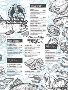 vector template brochure or flyer restaurant and cafe with hand drawn sketch graphic food - Buy this stock vector and explore similar vectors at Adobe Stock, Seafood Shop, Seafood Menu, Seafood Restaurant, Seafood Recipes, Sketch Menu, Food Sketch, Lobster Menu, Menue Design, Catering