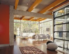my dream space, lots of light, big windows inviting nature indoors...mixing opposing elements that work great together