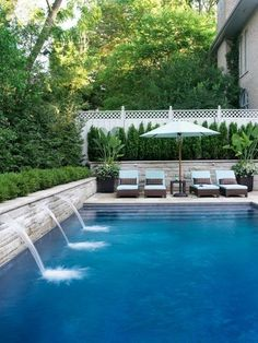 Resort style pool with cascading edge