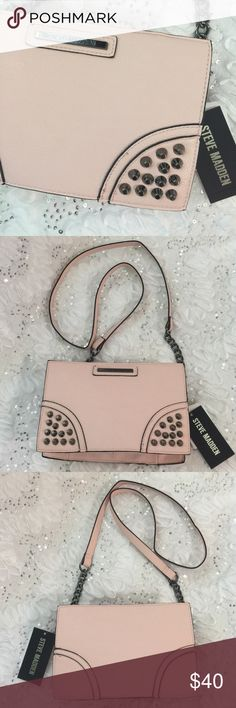"Steve Madden cross body Steve Madden cross body plush pink body with chrome studs and chain strap. 9 1/2""L x 6""H x 3""D and 23"" Strap Drop Steve Madden Bags Crossbody Bags"