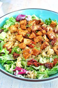quinoa salade met pikante plantaardige kipstukjes 3