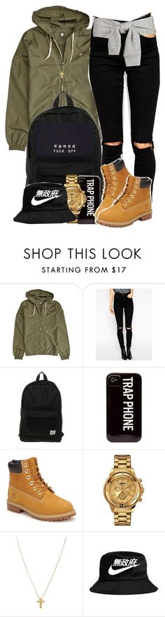 """""""Untitled #2189"""" by blasianmami16 ❤ liked on Polyvore featuring Element, ASOS, Herschel, Timberland, Versus, Gogo Philip and NIKE"""
