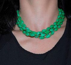 Crown Trifari green molded Lucite 4 strand choker necklace. 1960-70's Trifari necklace. Great for the holidays!