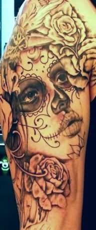 Rose-Flowers-Day-Of-The-Dead-Girl-Head-Tattoo-On-Full-Sleeve.jpg (192×457)